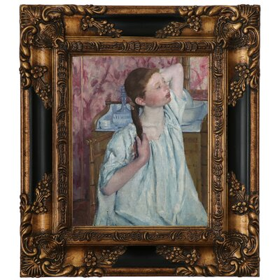 'Girl Arranging Her Hair 1886' by Mary Cassatt Framed Graphic Art Print on Canvas Size: 15.25