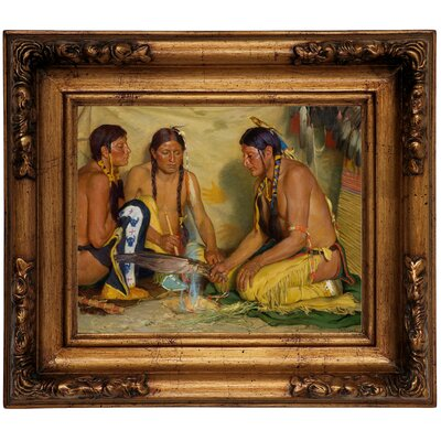 'Making Sweet Grass Medicine, Blackfoot Ceremony 1920' Framed Graphic Art Print on Canvas Size: 11