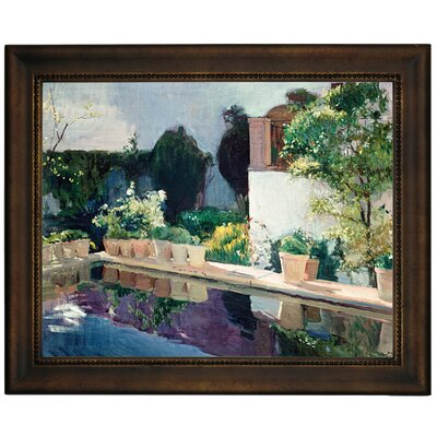 'Palace of Pond, Royal Gardens in Seville 1910' Framed Graphic Art Print on Canvas Size: 13.75