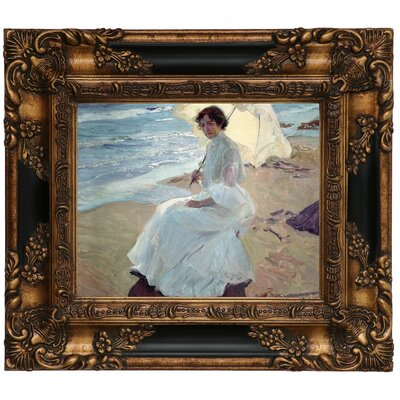 'Clotilde on the Beach 1904' Framed Graphic Art Print on Canvas Size: 13.25