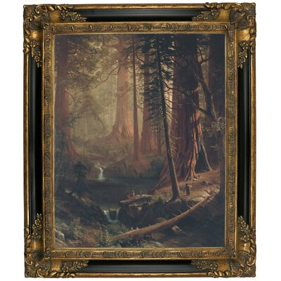 'Giant Redwood Trees of California 1874' Framed Graphic Art Print on Canvas Size: 25.25