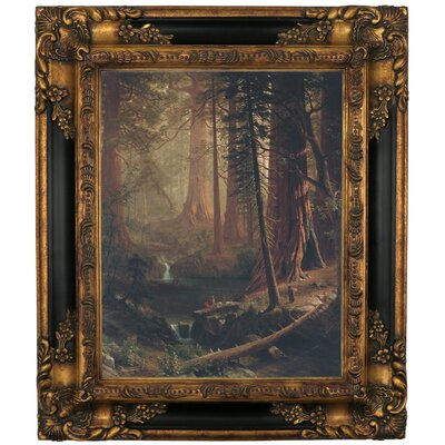 'Giant Redwood Trees of California 1874' Framed Graphic Art Print on Canvas Size: 19.25