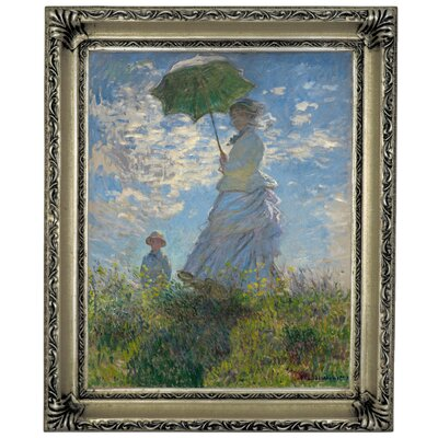 'On The Rock Cliff Madame Monet and Her Son Jean' by Claude Monet Framed Graphic Art Print on Canvas Size: 17
