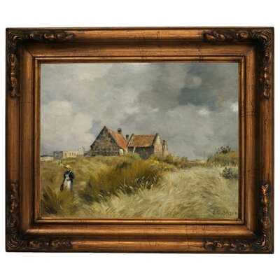 'Cottage in the Dunes' Framed Graphic Art Print on Canvas Size: 15.5