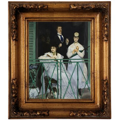 'The Balcony 1868' by Edouard Manet Framed Graphic Art Print on Canvas Size: 19.5