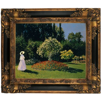 'Women in the Garden 2' by Claude Monet Framed Graphic Art Print on Canvas Format: Gold/Black Frame, Size: 16.25