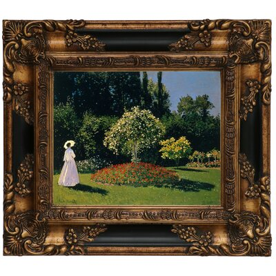 'Women in the Garden 2' by Claude Monet Framed Graphic Art Print on Canvas Format: Gold/Black Frame, Size: 13.25