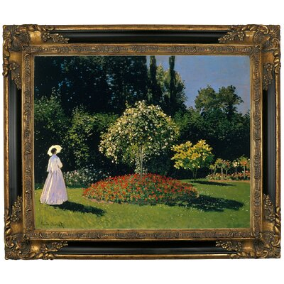 'Women in the Garden 2' by Claude Monet Framed Graphic Art Print on Canvas Format: Gold/Black Frame, Size: 21.25