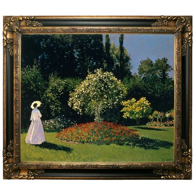 'Women in the Garden 2' by Claude Monet Framed Graphic Art Print on Canvas Format: Gold/Black Frame, Size: 22.25