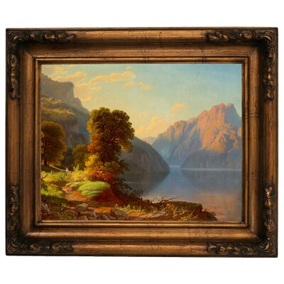 'A View of a Lake in the Mountains' Framed Graphic Art Print on Canvas Size: 15.5