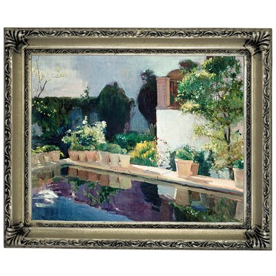 'Palace of Pond, Royal Gardens in Seville 1910' Framed Graphic Art Print on Canvas Size: 10.75