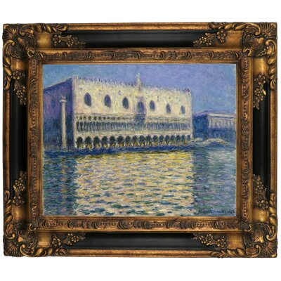 'The Doges Palace 1908' by Claude Monet Framed Graphic Art Print on Canvas Size: 16.25