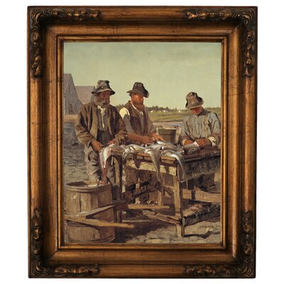 'Cleaning Fish 1877' Framed Graphic Art Print on Canvas Size: 19.5