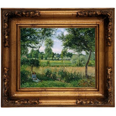 'Morning Sunlight Effect, Eragny 1899' by Camille Pissarro Framed Graphic Art Print on Canvas Size: 12.5
