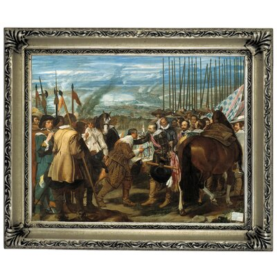 'The Surrender of Breda - The Lances' Framed Graphic Art Print on Canvas Size: 14