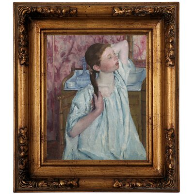 'Girl Arranging Her Hair 1886' by Mary Cassatt Framed Graphic Art Print on Canvas Size: 14.5