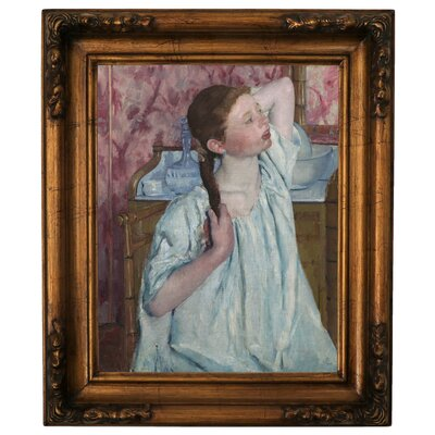 'Girl Arranging Her Hair 1886' by Mary Cassatt Framed Graphic Art Print on Canvas Size: 19.5