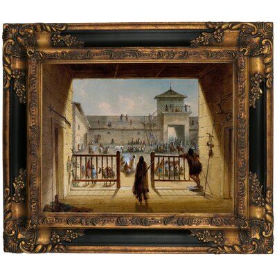'Interior of Fort Laramie 1858' Framed Graphic Art Print on Canvas Format: Gold/Black Frame, Size: 13.25