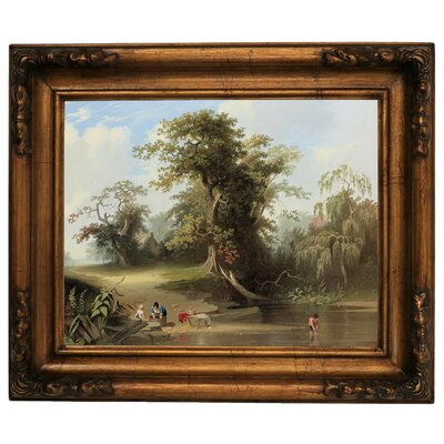 'Landscape - Rural Scene 1845' Framed Graphic Art Print on Canvas Format: Gold Frame, Size: 12.5