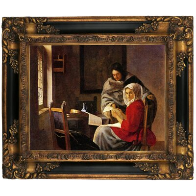'Girl Interrupted in her Music' by Johannes Vermeer Framed Graphic Art Print on Canvas Size: 16.25