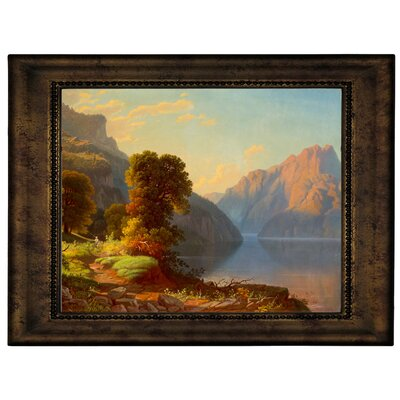 'A View of a Lake in the Mountains' Framed Graphic Art Print on Canvas Size: 10.75