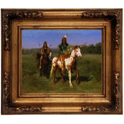 'Mounted Indians Carrying Spears 1890' Framed Graphic Art Print on Canvas Size: 10.75
