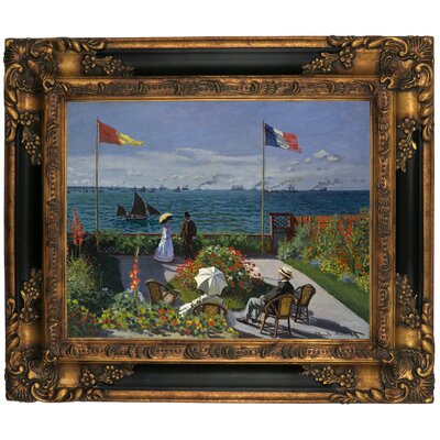 'Garden at Sainte Adresse' by Claude Monet Framed Graphic Art Print on Canvas Size: 16.25