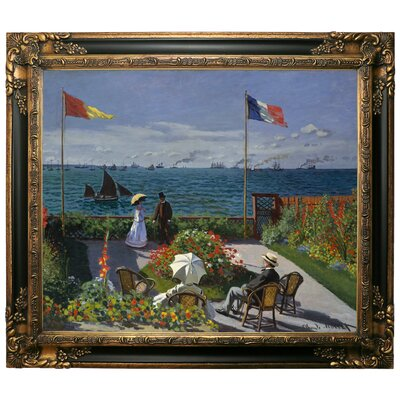 'Garden at Sainte Adresse' by Claude Monet Framed Graphic Art Print on Canvas Size: 25.25