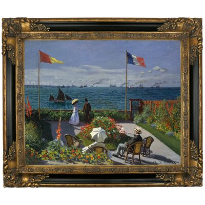 'Garden at Sainte Adresse' by Claude Monet Framed Graphic Art Print on Canvas Size: 21.25