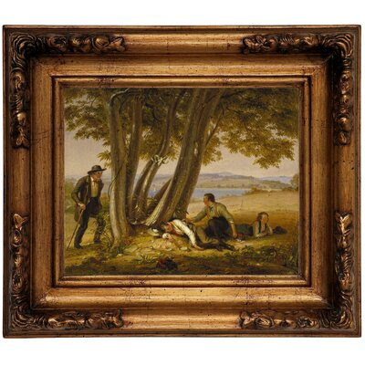 'Boys Caught Napping in a Field 1848' Framed Graphic Art Print on Canvas Size: 12.5
