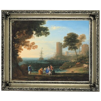 'Coast View with the Abduction of Europa 1645' Framed Graphic Art Print on Canvas Size: 14