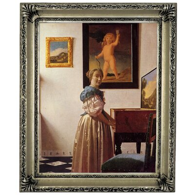 'A lady standing at a virginal' by Johannes Vermeer Framed Graphic Art Print on Canvas Size: 16.75