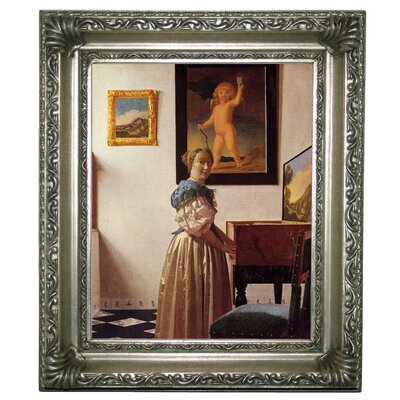 'A lady standing at a virginal' by Johannes Vermeer Framed Graphic Art Print on Canvas Size: 12.75