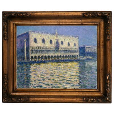 'The Doges Palace 1908' by Claude Monet Framed Graphic Art Print on Canvas Size: 15.5
