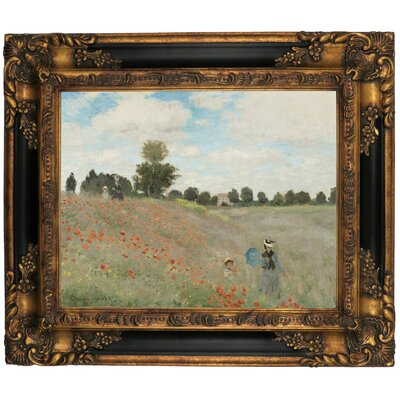 'Poppy Fields' by Claude Monet Framed Graphic Art Print on Canvas Size: 16.25