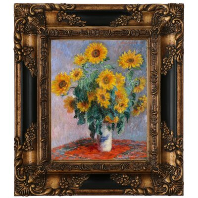 'Sunflowers' by Claude Monet Framed Graphic Art Print on Canvas Size: 25.25