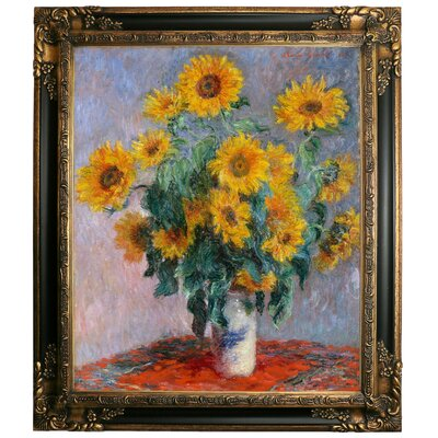 'Sunflowers' by Claude Monet Framed Graphic Art Print on Canvas Size: 29.25
