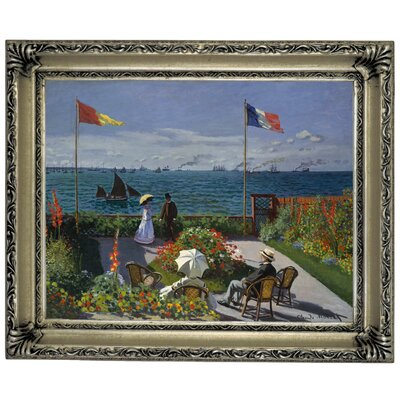 'Garden at Sainte Adresse' by Claude Monet Framed Graphic Art Print on Canvas Size: 14