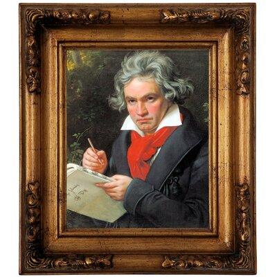 "'Portrait of Ludwig van Beethoven When Composing the Missa Solemnis' Framed Graphic Art Print on Canvas Size: 13"" H x 11"" W, Format: Silver Frame -  Astoria Grand, ATGD7942 41434662"