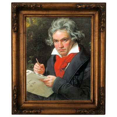 'Portrait of Ludwig van Beethoven When Composing the Missa Solemnis' Framed Graphic Art Print on Canvas Size: 19.5