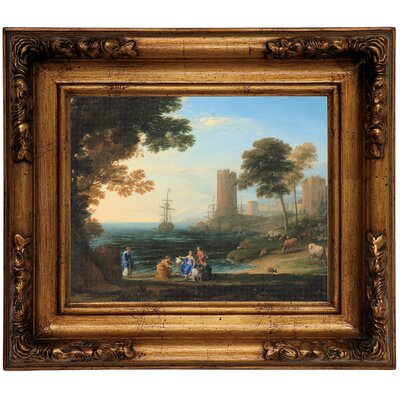 'Coast View with the Abduction of Europa 1645' Framed Graphic Art Print on Canvas Size: 12.5