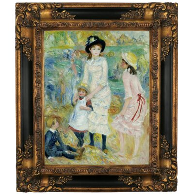 'Children on the Seashore Guernsey 1883' by Pierre-Auguste Renoir Framed Graphic Art Print on Canvas Size: 19.25