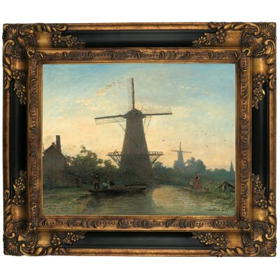 'Mills Near Rotterdam 1857' Framed Graphic Art Print on Canvas Size: 16.25