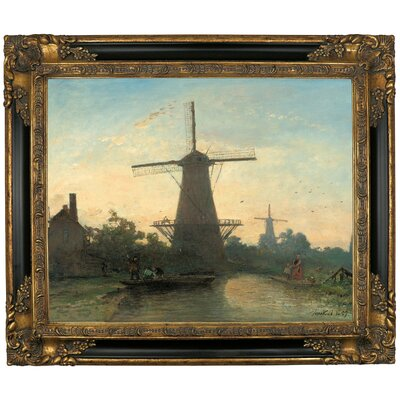 'Mills Near Rotterdam 1857' Framed Graphic Art Print on Canvas Size: 21.25