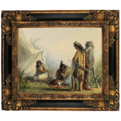 'Indian Courtship 1858' Framed Graphic Art Print on Canvas Size: 13.25