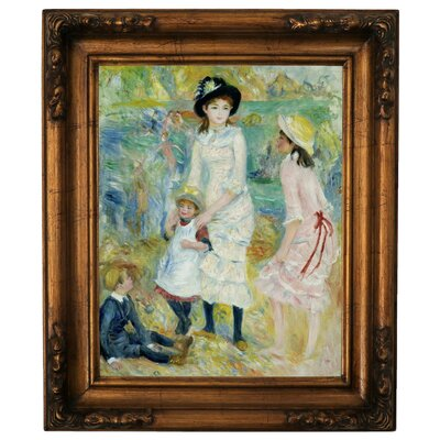'Children on the Seashore Guernsey 1883' by Pierre-Auguste Renoir Framed Graphic Art Print on Canvas Size: 19.5