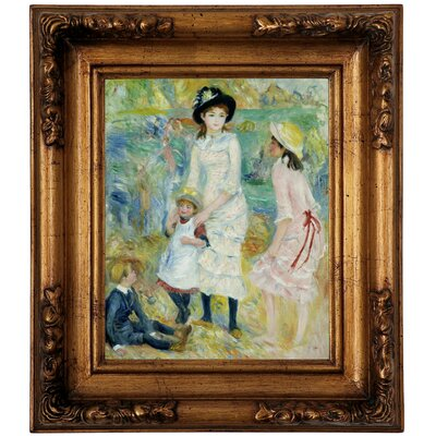 'Children on the Seashore Guernsey 1883' by Pierre-Auguste Renoir Framed Graphic Art Print on Canvas Size: 14.5