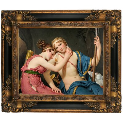 'The Farewell of Telemachus and Eucharis 1818' Framed Graphic Art Print on Canvas Size: 16.25