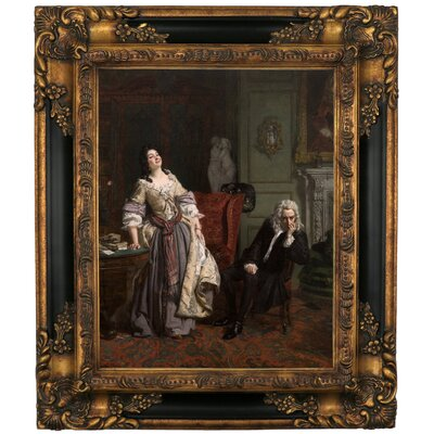 'Pope Makes Love to Lady Mary Wortley Montagu 1852' Framed Graphic Art Print on Canvas Size: 19.25