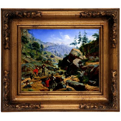 'Miners in the Sierras 1851' Framed Graphic Art Print on Canvas Size: 10.75